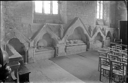 Tombs inside Church of St Andrew, Curry Rivel, near Langport, Somerset c.1930s