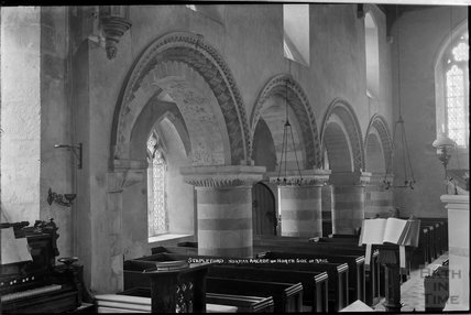 Stapleford Church, Nottingham. Norman Arcade on North side on nave, c.1930s