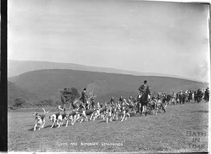 Devon and Somerset staghounds, Opening Meet, Cloutsham, near Minehead, Somerset, 1909