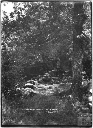Stepping stones on the River Teign, Chagford, Dartmoor, Devon c.1928
