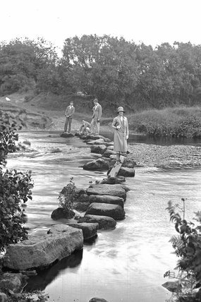 Rushford stepping stones, Dartmoor, Devon c.1928 - detail