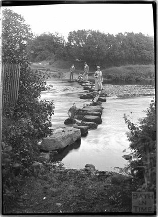 Rushford stepping stones, Dartmoor, Devon c.1928