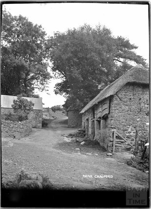 Thatched farm buildings near Chagford, Dartmoor, Devon c.1928