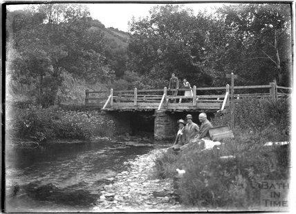Pausing by the river, Lynton near Lynmouth, Exmoor, Devon, 1932