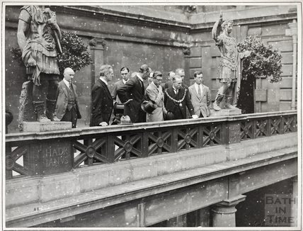 The Prince of Wales visiting the Great Roman Bath, July 18, 1923