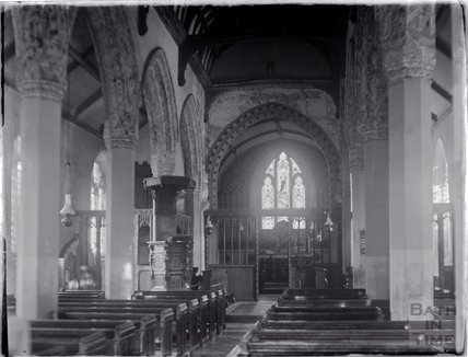 Inside Clyffe Pipard church, Wiltshire c.1910s
