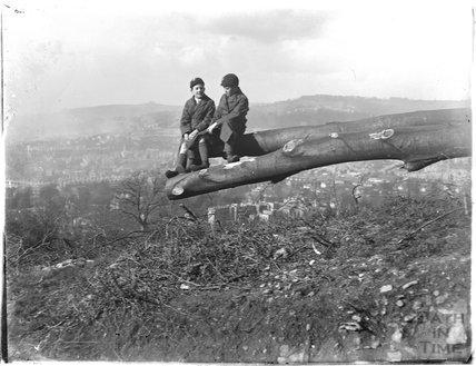 The photographer's twin boys at Bathampton Rocks c.1925