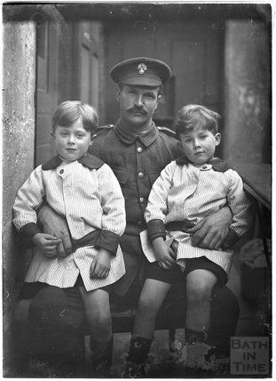 Sidney Bence and the photographer's twins, c.1915