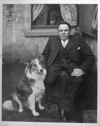 Portrait of an unknown man and his dog c.1900s
