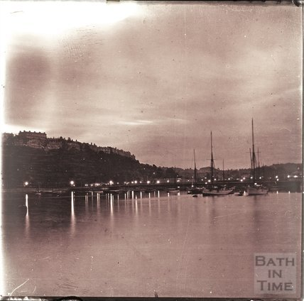 Evening view at sunset thought to be Brixham from the Victoria breakwater, c.1910