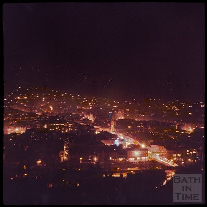 Dufaycolor view of Bath from Beechen Cliff at night, May 1937