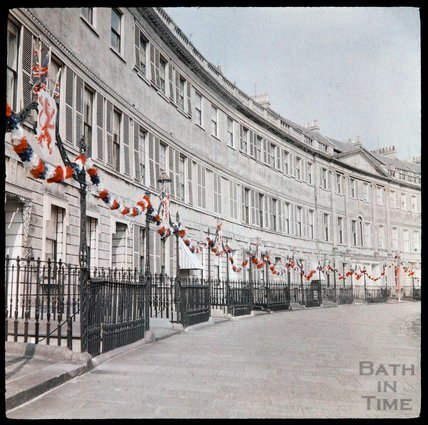 Dufaycolor view of Lansdown Crescent, Bath, May 1937