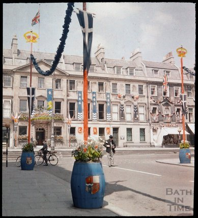 Dufaycolor view of the top of Milsom Street with George Street crossing, May 1937