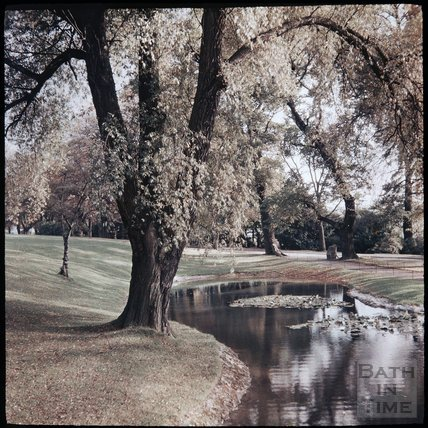 Dufaycolor view of the lake in Royal Victoria Park, May 1937