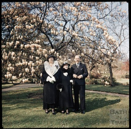 Dufaycolor view of a family group, including the photographer, May 1937