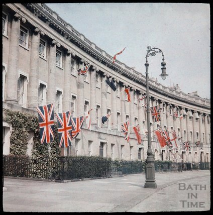 Dufaycolor view of the Royal Crescent, May 1937