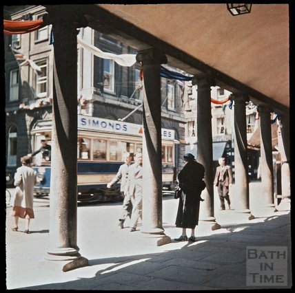 Dufaycolor view of a tram passing in front of the Grand Pump Room Hotel, Stall Street, Bath, May 1937