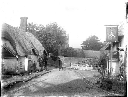 Clyffe Pypard near Swindon with thatched cottage and pub c.1920s