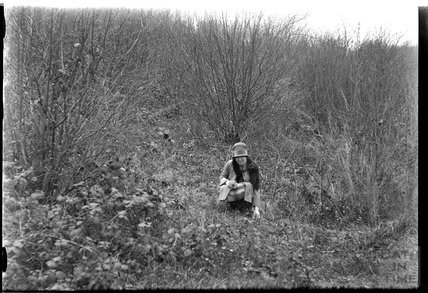 The photographer's wife Violet in Friary Wood, Hinton Charterhouse c.1920s
