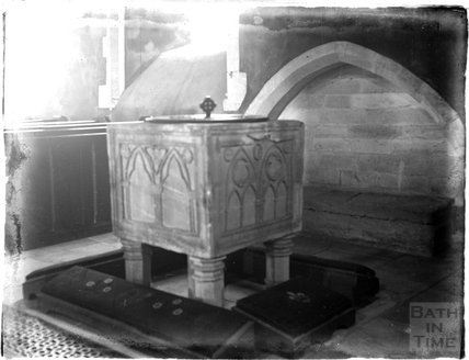 Font at St Mary's Church, Bibury, Gloucestershire, c.1920s