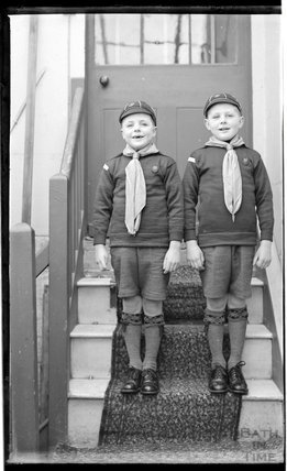 Two young boys in boy scout's outfits c.1919