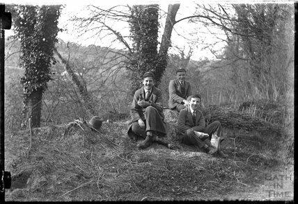 A group of people posing in a wood c.1920s