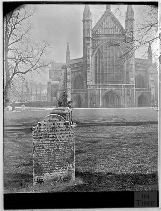 Winchester Cathedral and the grave of Thomas Thetcher, c.1890s