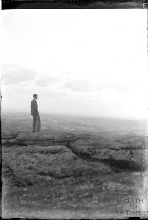 A young man taking in the view at Exmoor c.1930s
