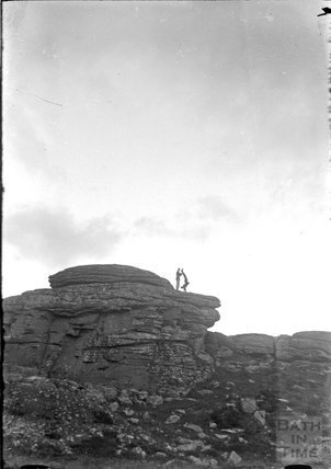 The photographer's twins performing for the camera on Haytor, Dartmoor c.1930s