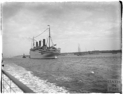A massive ocean liner at sea near Southsea, 1933