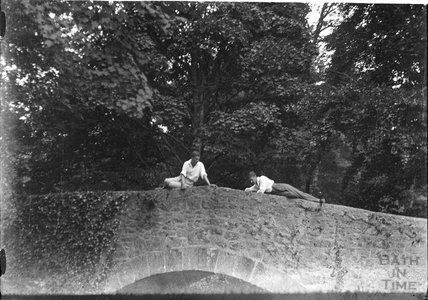 The photographer's twins on a bridge near Brixham c.1930s