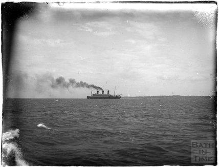 A massive ocean liner at sea near Southsea, 1933