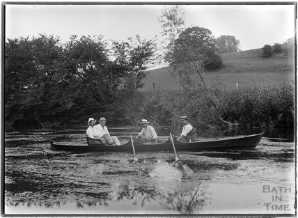 Friends of the photographer boating on the river near Warleigh c.1910s