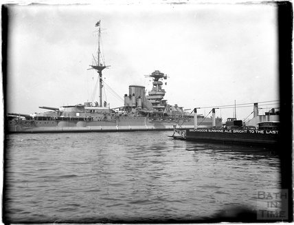 A large naval vessel at Portsmouth Harbour, 1933
