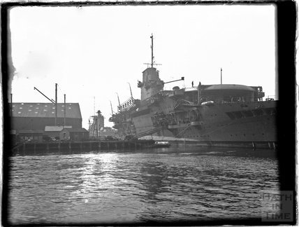 An aircraft carrier in dock at Portsmouth, 1933