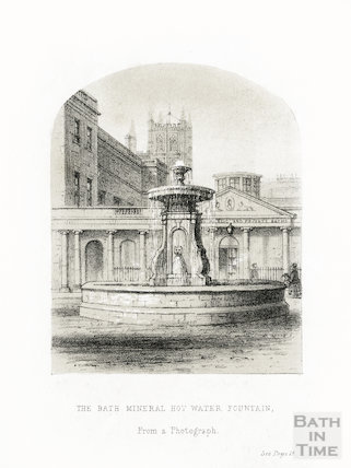 The Bath Hot Water Mineral Hot Water Fountain from a photograph, 1856