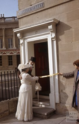 In period costume in Charles Street, by Green Park Station, Bath 1984
