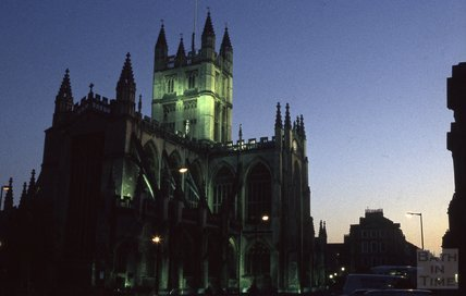 Bath Abbey in the evening from Orange Grove 1984