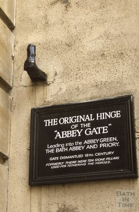 Hinge pintel and sign for the Abbey Gate, Abbeygate Street, Bath 1980