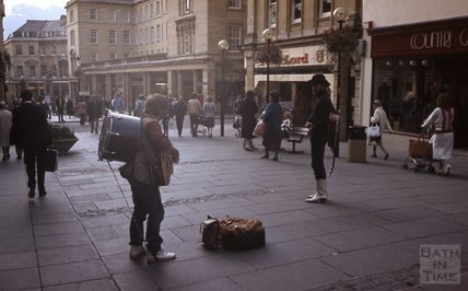 Buskers in Stall Street, Bath 1984