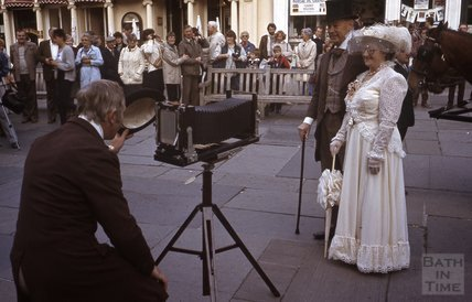 In period costume outside the Abbey, Bath 1984