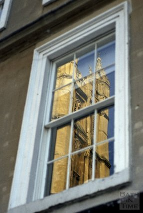 Reflection of Bath Abbey in a nearby window 1984