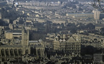 View of Bath Abbey, Empire Hotel and Snow Hill from Beechen Cliff, 1979