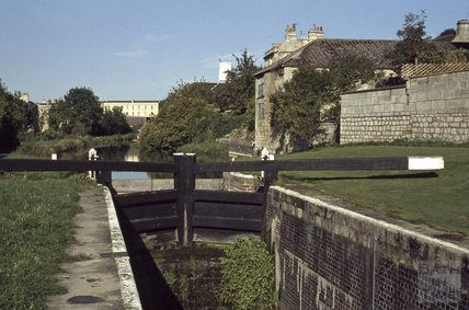 Lock on the Kennet and Avon Canal, Bathwick, Bath 1979