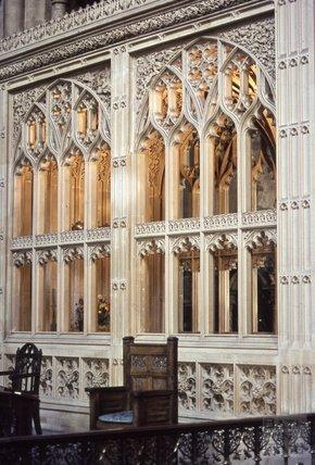Screen inside Bath Abbey, 1979