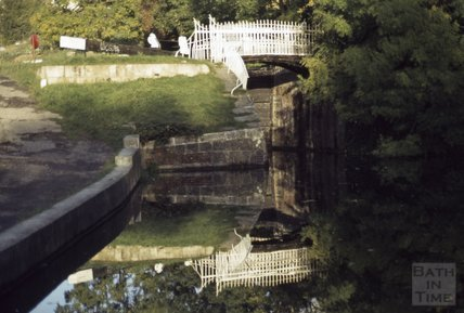 Bridge and lock on the Kennet and Avon Canal, Widcombe, Bath 1979