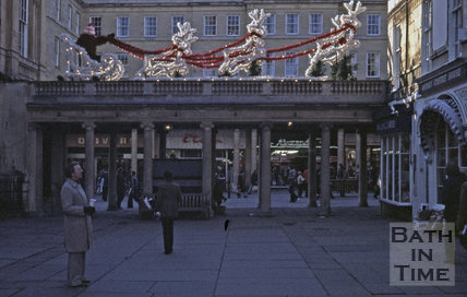 Christmas decorations at Abbey Church Yard, 1979