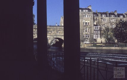 Pulteney Bridge and Weir from the arches on Grand Parade, 1979