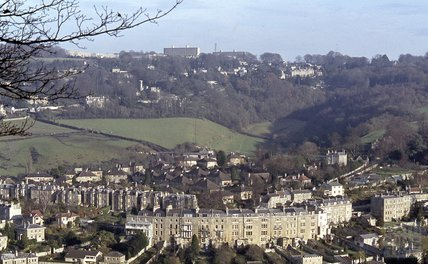 View of Widcombe Crescent from Beechen Cliff, 1979
