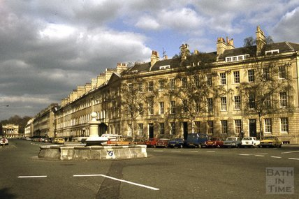 Great Pulteney Street and fountain at Laura Place, 1979